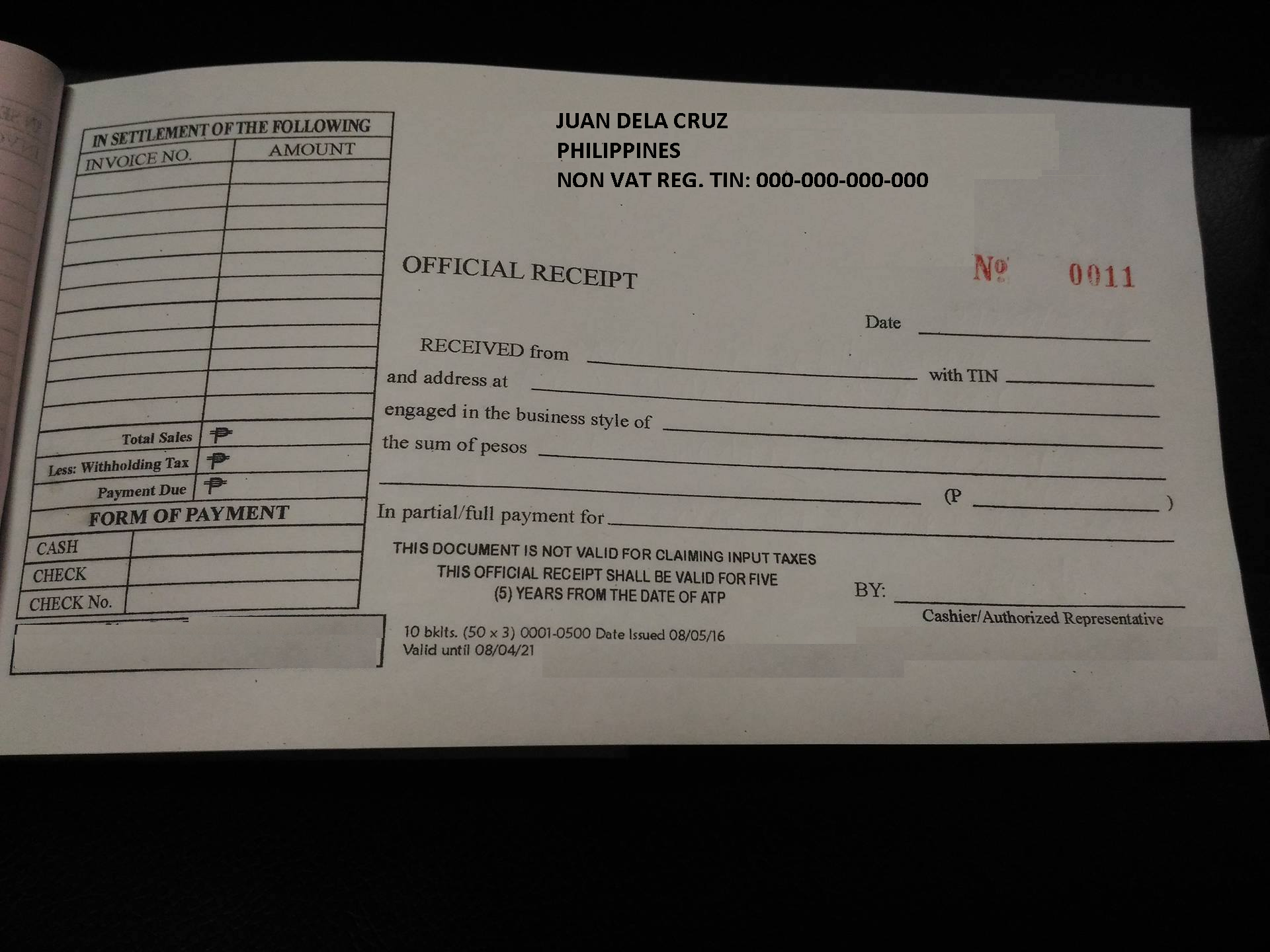 filipino freelancer application for authority to print receipts and